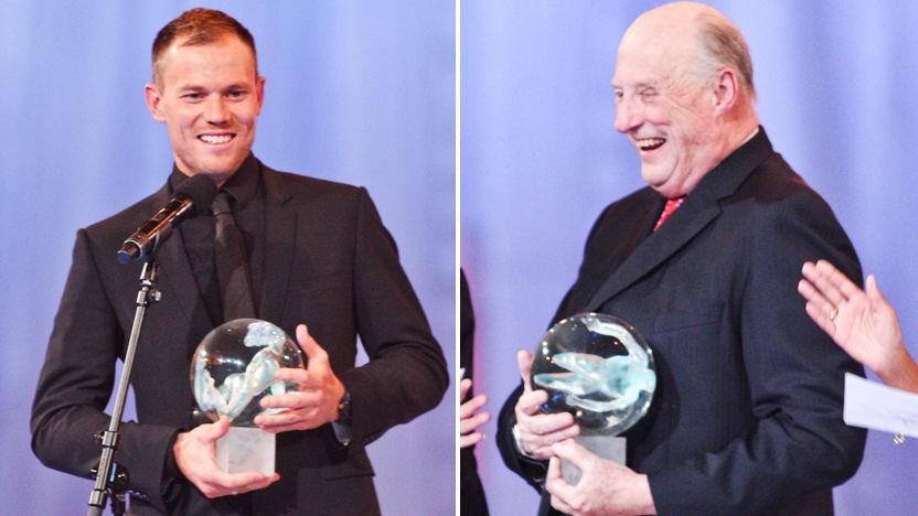KONGER: Kong Harald og Thor Hushovd ble hedret på Idrettsgallaen. Foto: Scanpix