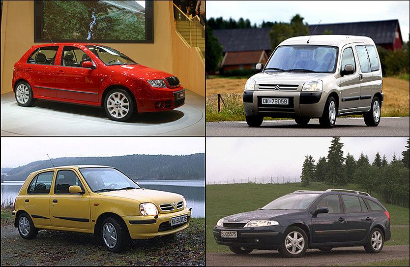 GODE KJØP: Her er fire av ti gode bruktkjøp til under 50.000 kroner. Øverst fra venstre og rundt: Skoda Fabia, Citroën Berlingo, Renault Laguna og Nissan Micra. Foto: VG arkiv