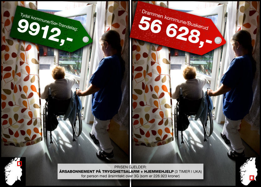PRISSPRIK PÅ HELSEHJELP: Bor du i Drammen risikerer du å betale seks ganger mer enn om du hadde bodd i Tydal i Sør-Trøndelag - for samme tjenesten. Grafikk: Tom Byermoen / Foto: Scanpix
