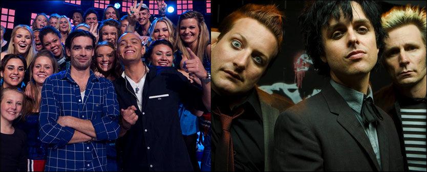 SANG SUPERGRUPPAS LÅT: Erik og Kriss, her sammen med koret sitt, fikk hakeslipp da de så at Green Day (t.h.) hadde postet korets TV-opptak på sin hjemmeside. Foto: TV 2/Thomas Reisæter og Warner