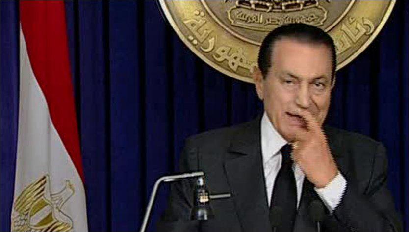 PÅ RØMMEN? Ifølge diverese medier skal Hosni Mubarak ha forlatt Kairo, og være på vei til ukjent adresse. Foto: Scanpix.