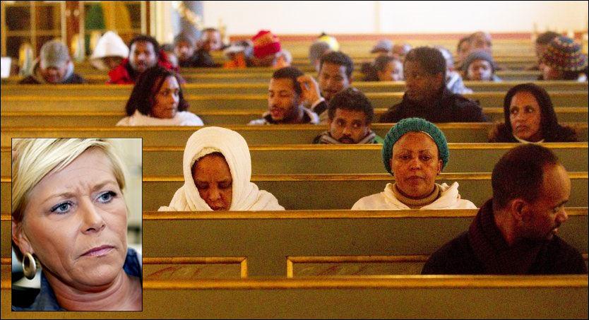 - MISBRUK: Siv Jensen betegner aksjonen i Oslo domkirke som misbruk av kirkerommet. Foto: SCANPIX