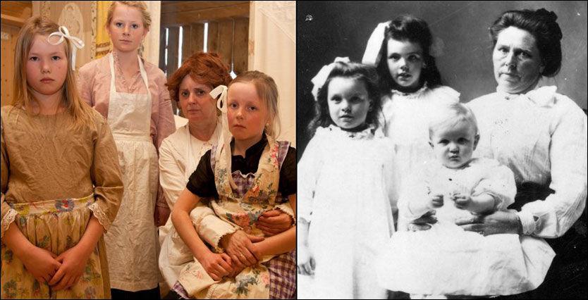 SERIEMORDER: Belle Gunness (på bildet til høyre) utvandret fra Selbu til Amerika i 1881 - og ble en av verdens mest beryktede seriemordere. Her med sine barn, Lucy, Myrtle og Phillip. (Foto: LA PORTE COUNTY HISTORICAL SOCIETY MUSEUM ). Bildet til venstre viser skuespillerne i den nye oppsetningen. F.v. Ingrid Krogstadmo som Myrtle, Ingrid Selboe som Jennie, Randi Bjerge-Skøld som Belle med Mildrid Flønes på fanget som Lucy. FOTO: BENTE HAARSTAD