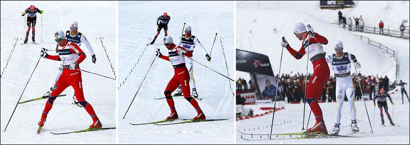 HÅNET HELLNER: Her sikrer Petter Northug norsk stafettgull. Marcus Hellner var sjanseløs mot nordmannen. Foto: Reuters/Scanpix
