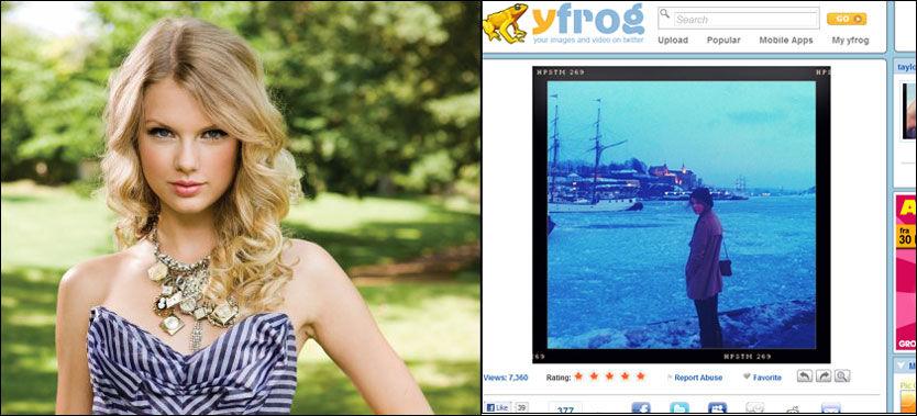 SUPERSTJERNE HAR LANDET: Taylor Swift (21) har lagt ut bilde av seg selv på Twitter, der hun skuer utover Oslofjorden. Foto: Universal og Twitter