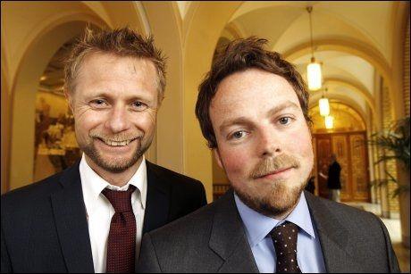 EN MOT, EN UKLAR: Mens Torbjørn Røe Isaksen (til høyre) har vært en av Høyre-representanene som lengst har advart mot datalagringsdirektivet, har nestleder Bent Høie ennå ikke gått ut offentlig med hva han mener. Men han sier han nå har bestemt seg. Foto: Trond Solberg