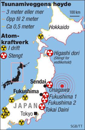 LIGGER LANGS KYSTEN: De fleste av Japans atomkraftverk ligger i kystområder, for å sikre vannavkjøling. Dermed ligger kraftverkene sårbart til for tsunamier. Grafikk: SGB/Tom Byermoen