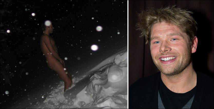 SNØBAD: Kim Sondre hadde kun bilder av seg selv naken i snøen på datamaskinen. Dermed ble han deltager i TV2s farmen. Foto: Privat / Espen Braata.