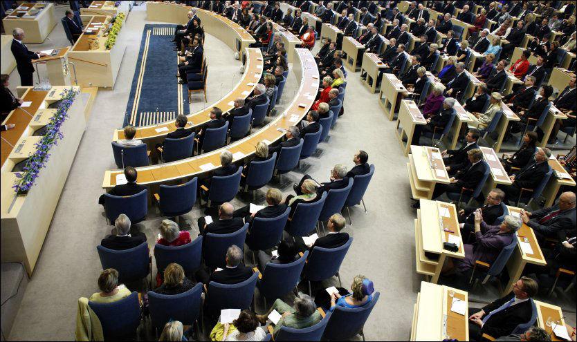 RIKSDAGEN: Den svenske nasjonalforsamlingen her fotografert under åpningen i 2010.r Foto: Scanpix