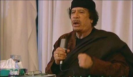 LIBYAS LEDER: Muammar Gaddafi, her fra en nylig holdt TV-tale. Foto: AFP