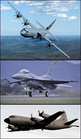 NORSK BIDRAG: Det er foreløpig ikke klart hva Norge skal bidra med. Hercules-, F-16- eller Orion-fly er alle alternativer. Foto: Scanpix og VG