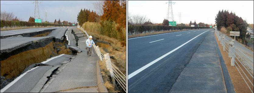 GOD SOM NY: Bildet til venstre viser hvordan veien så ut like etter jordskjelvet. Bildet til høyre er tatt samme sted seks dager senere. Foto: AP