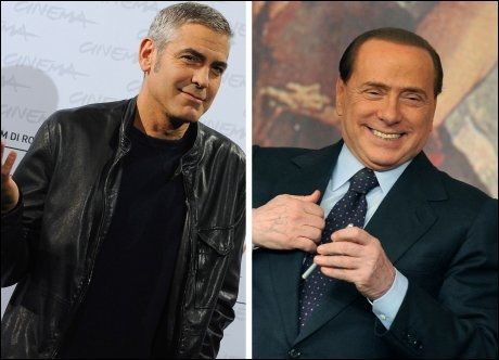 - BARE MØTTES ÉN GANG: George Clooney (49) hevder han ikke har noe kjennskap til Silvio Berlusconi(74) utover at de har møttes én gang. Foto: AFP