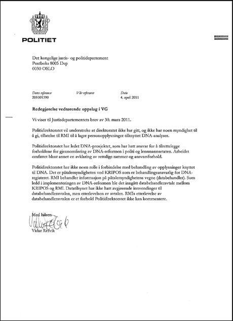 SVARER: Brevet fra Politidirektøren til Knut Storberget Foto: