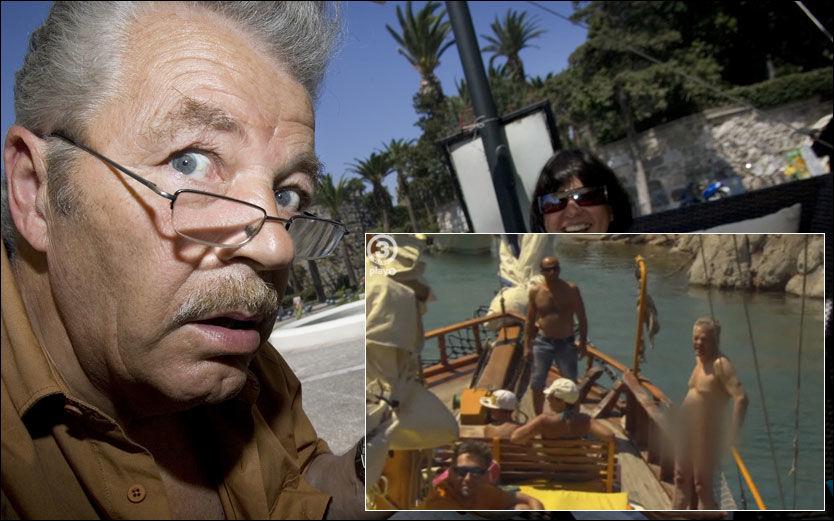 LURERI: Martin Schanche er med i «Charterfeber» med kona Birgit. Men det innfelte bildet til høyre lyver. Foto: TV3
