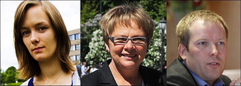 HAR BLITT SJIKANERT: Anette Trettebergstuen (AP), Sonja Sjøli (Høyre) og Håkon Haugli (Ap) er bare tre av mange av de 89 stortingsrepresentantene som stemte for datalagringsdirektivet, som har fått uhyggelige eposter. Foto: Nils Bjåland og Lars Erik Skrefsrud (VG) og Morten Holm/Scanpix