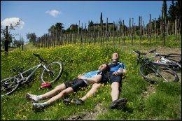 TOSCANA: Mange nordmenn velger Toscana i Italia når de skal på sykkelferie. Her tar Cecilie og Knut Roar Ulseth en siesta i solen i Chianti i Toscana i fjor. Foto: KARIN BEATE NØSTERUD