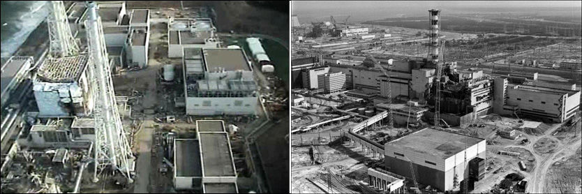TO ALVORLIGSTE ULYKKER: Ulykken ved Fukushima-kraftverket (til venstre) i Japan, er nå klassifisert i øverste alvorlighetsgrad for atomulykker. Tidligere er det bare katastrofen i Tsjernobyl-kraftverket som har vært klassifisert like alvorlig. Foto: AFP/AP