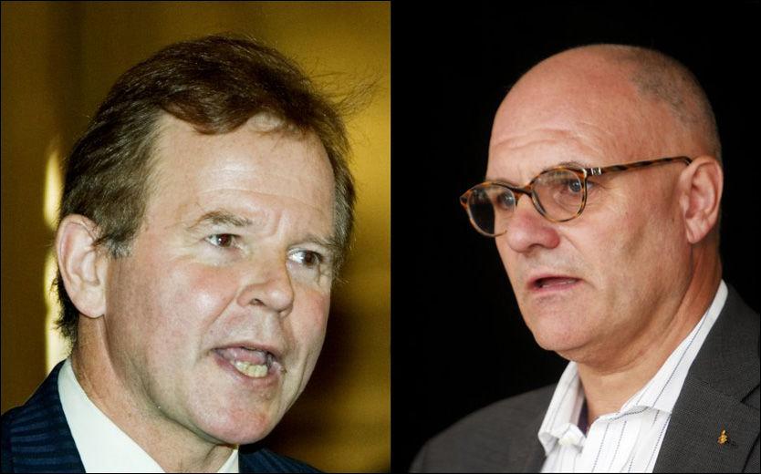 I KONFLIKT: Rektor ved Universitetet i Oslo, Ole Petter Ottersen (til venstre), mener han ikke var klar over det ulovlige DNA-registeret ved Rettsmedisinsk institutt før Datatilsynet kom med sin rapport i mars. Den påstanden setter eksdirektør ved RMI Olav Gunnar Ballo et stort spørsmålstegn ved. Foto: Knut Falch/Jon-Michel Josefsen/Scanpix