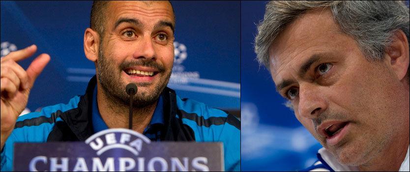 MEKTIGE MENN SOM MELDER: Både Josep Guardiola og José Mourinho fyrte løs idag. Men få hadde ventet seg Barcelona-trenerens utbrudd. Foto: AP
