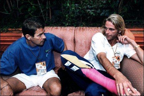 Patrik Sjöberg (t.h.) fotografert sammen med treneren og stefaren i 1993. Foto: VG
