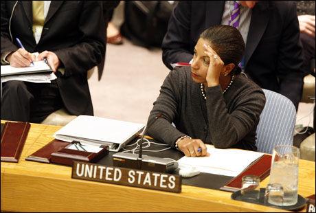 VIAGRA-PÅSTANDER: USAs FN-ambassadør, Susan Rice, anklaget i sikkerhetsrådet libyske styrker for å bruke voldtekt som våpen. Foto: AP