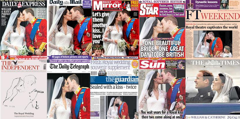 KLINER TIL: Slik ser forsidene på ti store, britiske aviser ut dagen etter den store dagen. Montasje: Sindre Murtnes, VG.