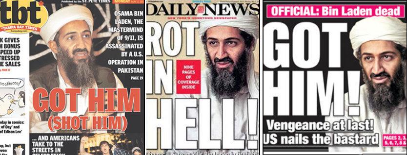 PÅ FORSIDEN: Ikke overraskende er det Osama bin Laden som dominerer forsidene i USA mandag. Foto: FAKSIMILE: Tampa Bay Times, Daily News, New York Post