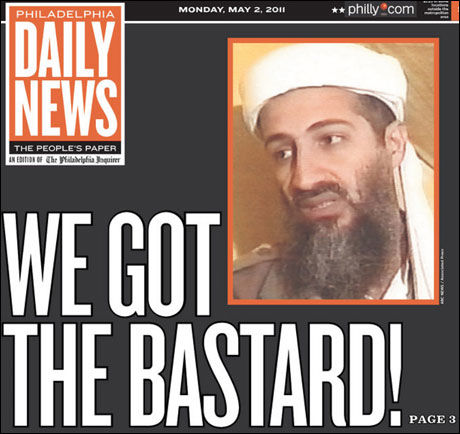 FRISK ORDBRUK: «We got the Bastard», sto det på forsiden av The New York Daily News mandag. Foto: FAKSIMILE: Philadelphia Daily News