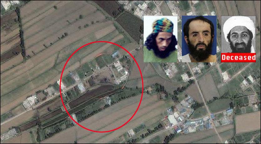 HER BODDE HAN: I området markert i den røde ringen bodde terrorlederen Osama bin Laden (innfelt, t.h.). Flere andre terrorister, blant annet Abu Libi (i.m.) og Umar Patek (t.v.). Foto: AP / GeoEye / Wikileaks / FBI