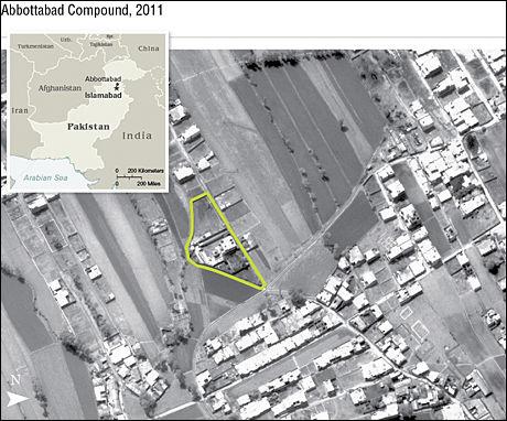 DØDSSTEDET: Et udatert bilde fra CIA viser stedet der Osama gjemte seg før han ble drept av amerikanske spesialstyrker. Foto: AP
