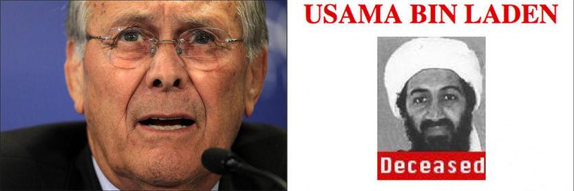 TAR EN DEL AV ÆREN: Tidligere forsvarsminister Donald Rumsfeld tar, sammen med den tidligere Bush-administrasjon, en del av æren for at Osama bin Laden nå er uskadeliggjort. Foto: AFP/AP