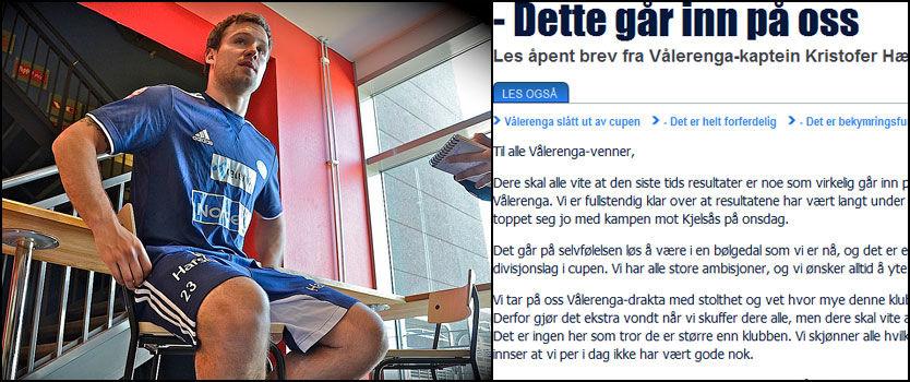 PÅ VALLE I DAG: Kristofer Hæstad møtte journalistene utenfor VIF-garderoben på Valle torsdag. Til høyre brevet som Hæstad var med på å forfatte. Foto: Jostein Magnussen/VG