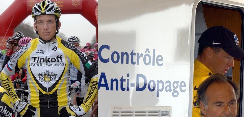 SENDES I ASFALTEN: Tyler Hamilton (til v.) sier at Lance Armstrong - her på vei til dopingtest i 2002 - skal ha dopet seg. Foto: AP/Scanpix