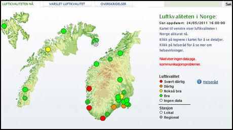 RØDE ASKEPRIKKER: Slik var luftkvaliteten i Norge tirsdag ettermiddag. Der det er røde prikker, finnes det områder hvor luftkvaliteten er svært dårlig, ifølge Norsk instuttt for luftforskning (NILU). Foto: Grafikk: NILU