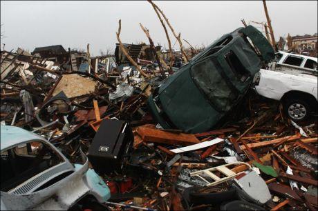 PINNEVED: Tornadoen forårsaket store ødeleggelser i Joplin. Foto: Afp