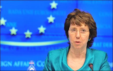FORNØYD: EUs utenrikspolitiske sjef Catherine Ashton. Foto: AFP PHOTO GEORGES GOBET