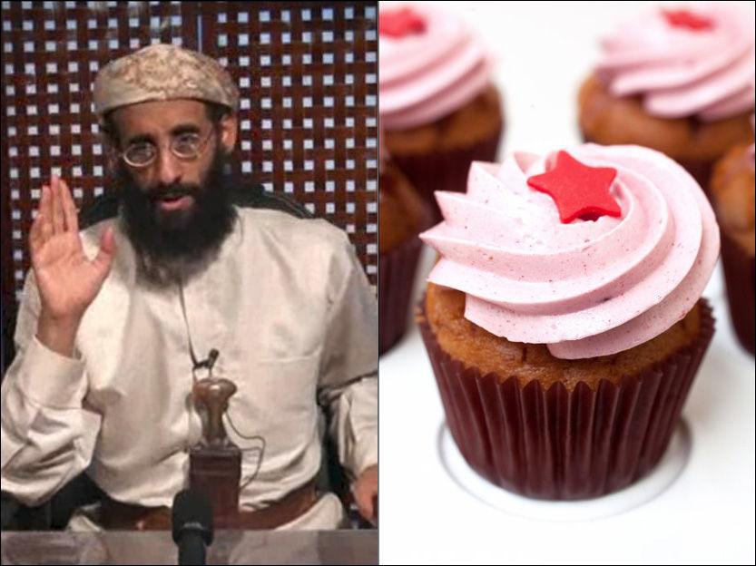 IKKE AKKURAT KAKEMONSTERET: Anwar al-Awlaki er kjent for jihad-prekener, og oppmuntrer nok ikke til ukritisk cupcake-baking. Foto: AP og Janne Møller-Hansen/VG