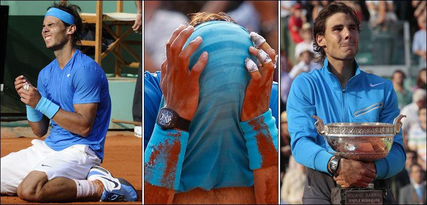 FELTE NOEN TÅRER: Rafael Nadal var en meget lykkelig mann etter seieren mot Roger Federer i kveld. Foto: AFP og AP