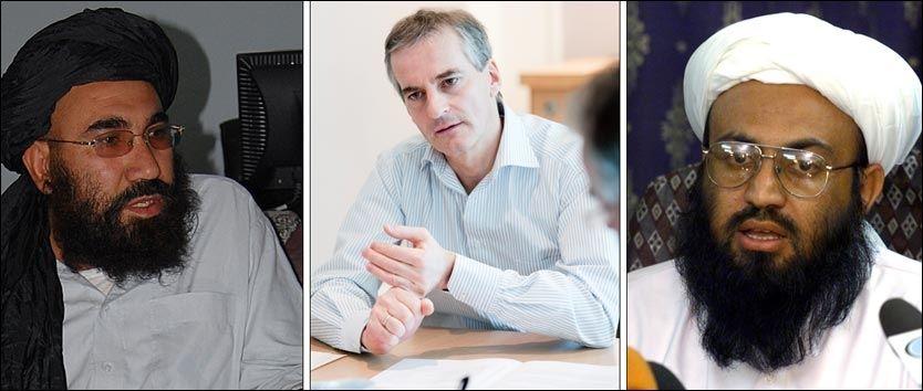 I MØTE: Utenriksminister Jonas Gahr Støre møtte ifølge TV 2 de tidligere Taliban-toppene Abdul Salam Zaeef og Wakil Ahmed Muttawakil i Oslo nylig. Foto: SCANPIX/ REUTERS