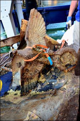 OPP FRA DYPET: Ørneskulpturen fra krigsskipet «Erich Giese» ble hentet opp fra havbunnen utenfor Narvik i natt. Foto: Frank Bang