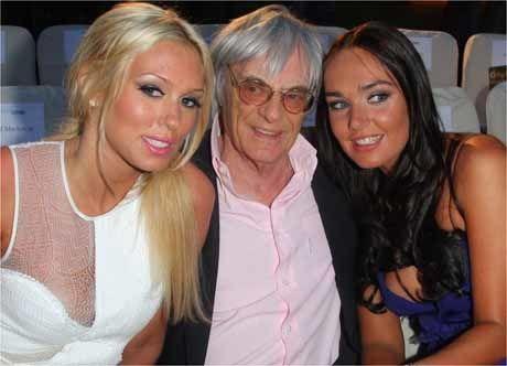 PAPPAJENTER: Mangemilliardær Bernie Ecclestone gir døtrene sine hva som helst. Her er de sammen på et F1-event i Monaco tilbake i 2009. Foto: Scanpix