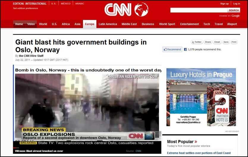 ALVORLIG: Både CNN og andre internasjonale medier følger terroranslaget mot Norge tett. Foto: Faksimile: CNN