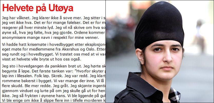 «HELVETE PÅ UTØYA»: Prableen Kaur har skrevet om hvordan hun måtte spille død for å overleve. Foto: Faksimile / Trond Solberg, VG.