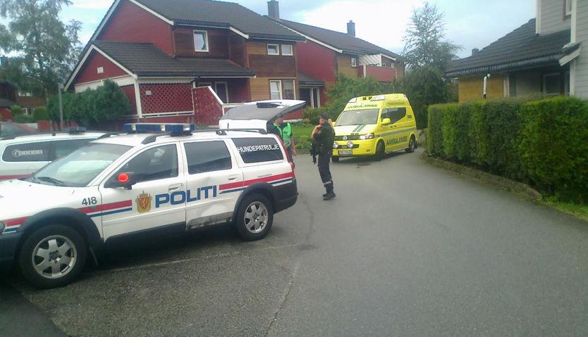 STUKKET AV: Politi og ambulanser i boligstrøket i Sandnes der skyteepisoden skjedde. Husene i bakgrunnen har ikke noe med skyteepisoden å gjøre. Foto: Ronny Hjertås