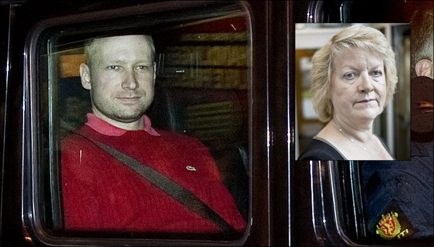 STOD PÅ LISTE: Anders Behring Breivik ble kjørt i en pansret bil da han ble fremstilt for fengsling i Oslo Tinghus mandag. Janne Kristiansen snakket for første gang med pressen mandag - tre dager etter fredagens terroraksjoner. Foto: Krister Sørbø/Gøran Bohlin