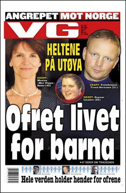 OFRET LIVET: Dagens papirutgave av VG forteller historien om Mette-Marits stebror som omkom på Utøya. Foto: Faksimile
