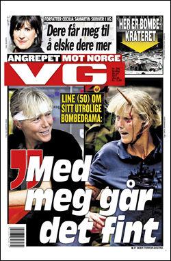 VG 28. JULI: Les mer om terroraksjonen i torsdagens VG. Foto: Faksimile