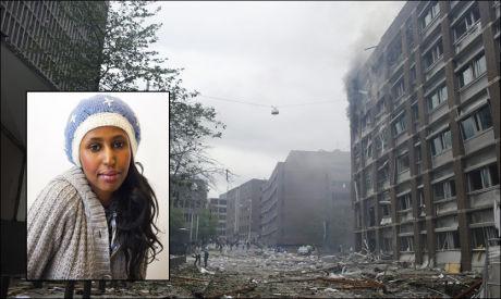 TERRORANGREP: Da bomben gikk av i Regjeringskvartalet, var det flere nordmenn som reagerte med sinne mot muslimer, forteller Kadra Yusuf (innfelt). Foto: FRODE HANSEN / KRISTIAN HELGESEN, VG