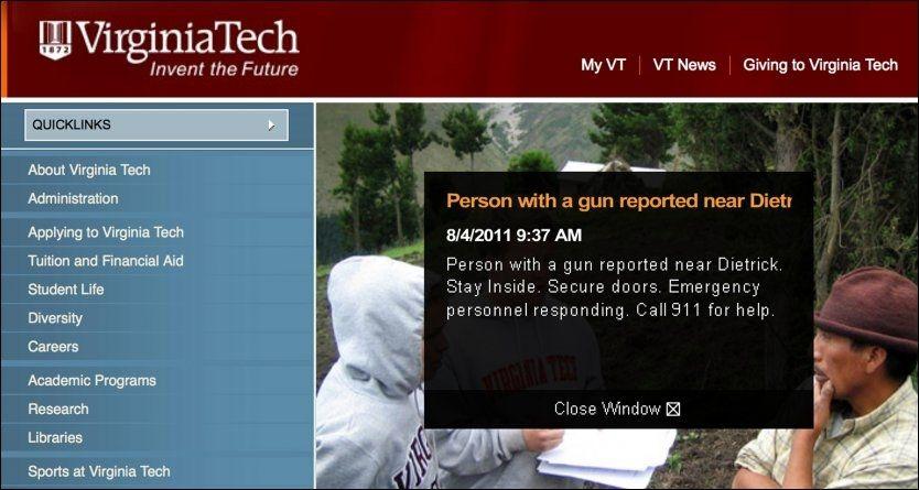 ADVARTE: Universitetet sendte ut denne varselen like etter at ungdommene kontaktet politiet. Foto: Reuters